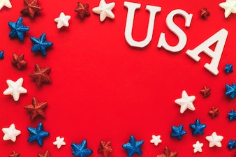 Usa independence day concept with copyspace and stars