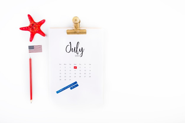 Usa independence day concept with copyspace on right and calendar