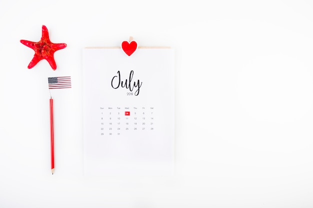 Usa independence day concept with copyspace on right side and calendar