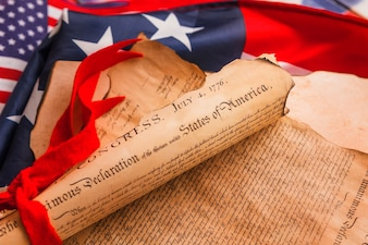 Usa independence day concept with declaration of independence