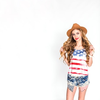 Usa independence day concept with good looking woman and copyspace