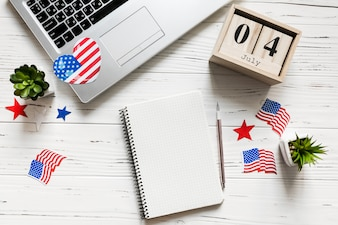 Usa independence day concept with notepad