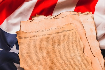 Usa independence day concept with old declaration