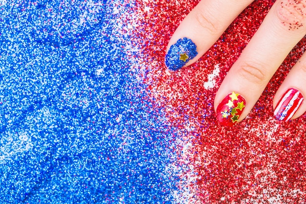 Usa independence day concept with painted nails