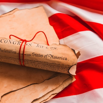 Usa independence day concept with rolled declaration