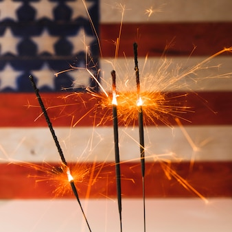 Usa independence day concept with sparklers