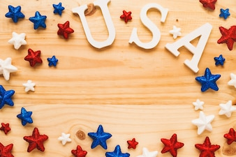 Usa independence day concept with stars and copyspace
