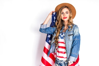 Usa independence day concept with woman saluting