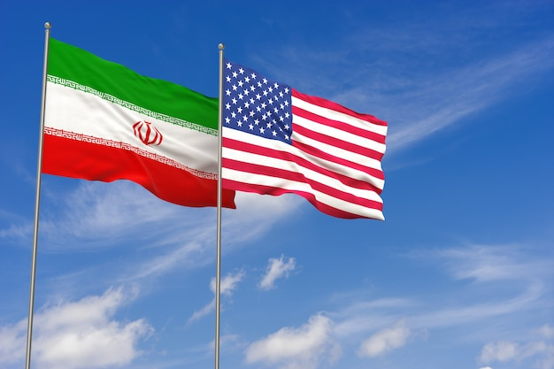 Usa and iran flags over blue sky background. 3d illustration