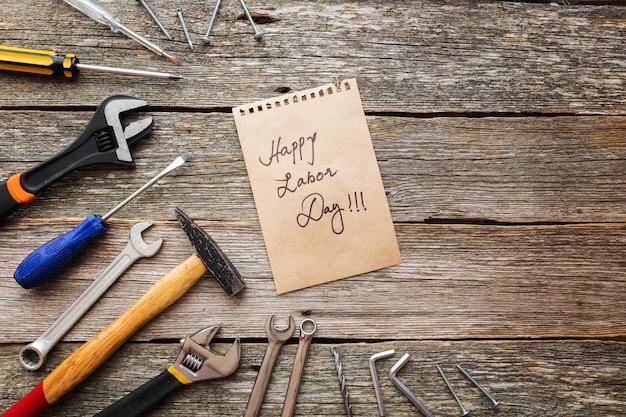 Концепция дня труда сша. разные виды на гаечные ключи