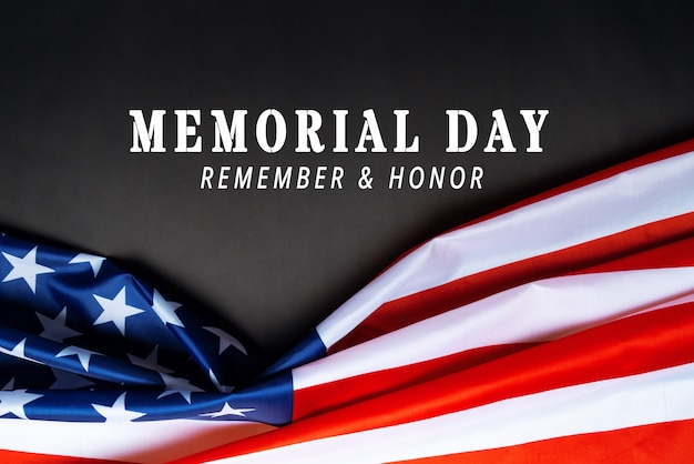 Usa memorial day and independence day concept, united states of america flag on black background