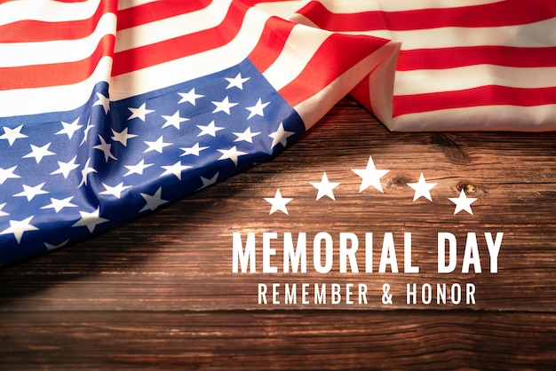 Usa memorial day and independence day concept, united states of america flag on rustic wooden background Premium Photo