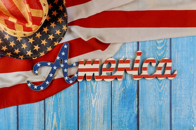 Usa national holidays memorial day american flag on wooden background america sign decorated letter