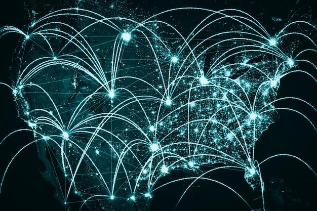 Сетевое соединение сша, охватывающее страну с линиями инновационного восприятия