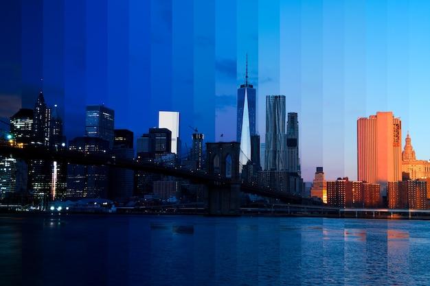 Соединенные штаты америки. нью-йорк. как ночь превращается в день над манхэттеном. фантастический коллаж