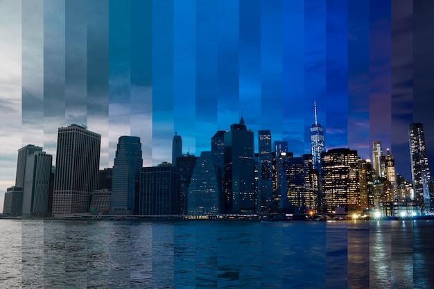 Соединенные штаты америки. нью-йорк. когда вечер превращается в ночь над манхэттеном. фантастический коллаж