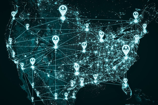 Usa people network and national connection in innovative perception