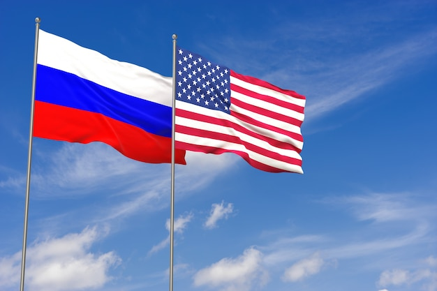 Usa and russia flags over blue sky background. 3d illustration