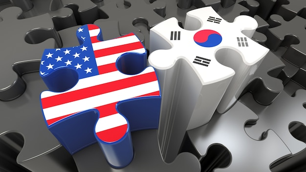Usa and south korea flags on puzzle pieces. political relationship concept. 3d rendering