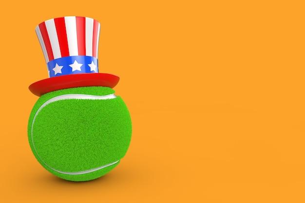 미국 테니스 개념입니다. 노란색 배경 3d 렌더링에 미국 모자와 테니스 공