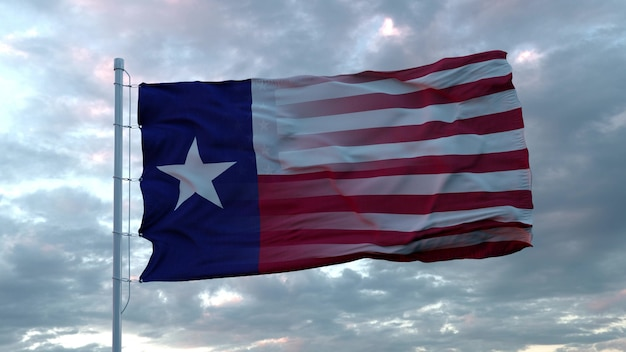 Usa and texas mixed flag waving in wind