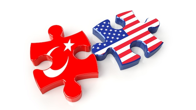 Usa and turkey flags on puzzle pieces. political relationship concept. 3d rendering