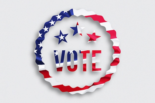 Usa vote concept.  text with american flag on white background