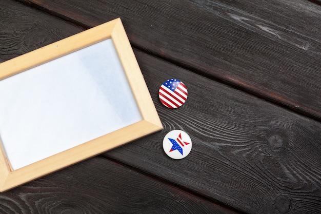Usa vote pin and blank frame