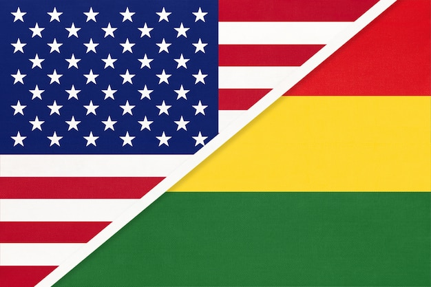 Usa vs bolivia national flag. relationship between two countries.