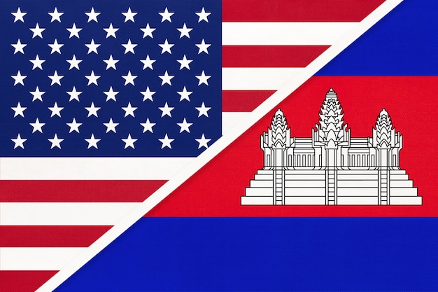 Usa vs cambodia national flag from textile. relationship between two american and asian countries.