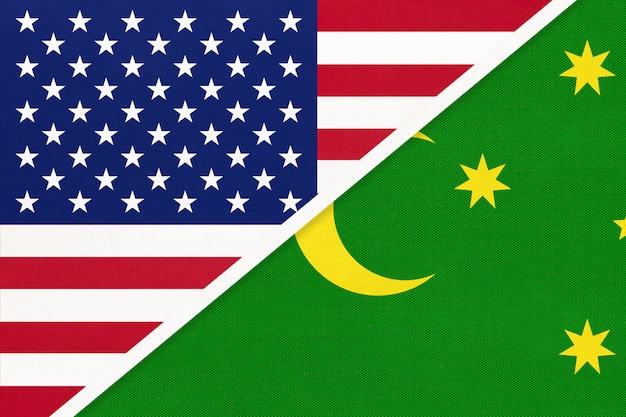米国vsココス島、キーリングの国旗の織物。アメリカとアジアの2つの国の関係。