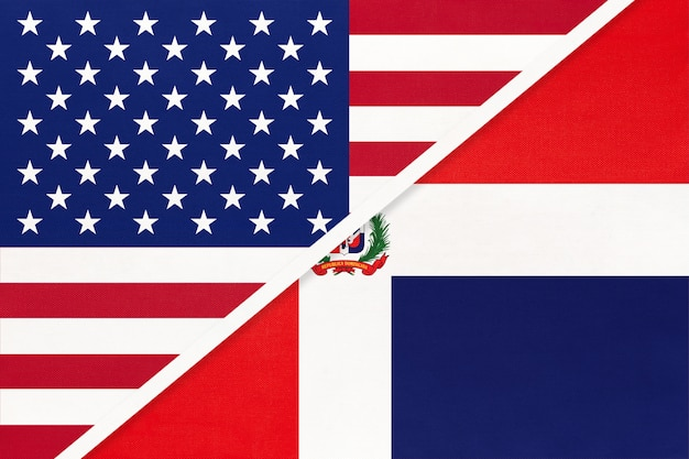 Usa vs dominican republic national flag. relationship between two countries.