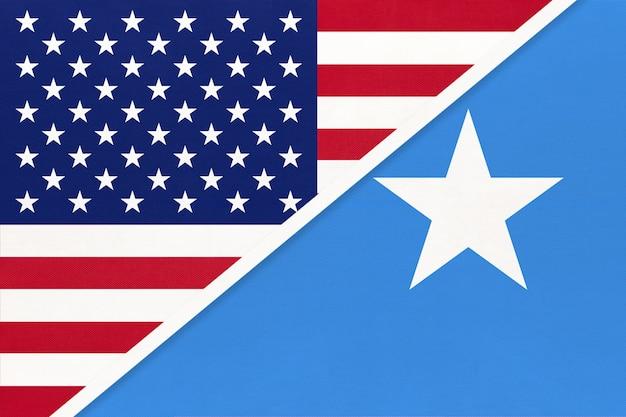 Usa vs federal republic of somalia national flag from textile.
