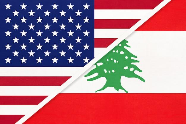 繊維から米国対レバノンの国旗。アメリカとアジアの2つの国の関係。