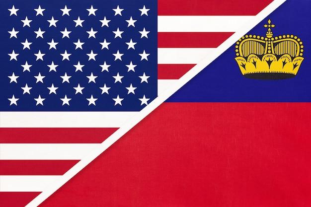 Usa vs liechtenstein national flag
