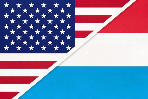 Usa vs luxembourg national flag