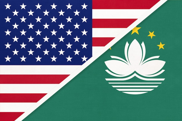 Usa vs macau national flag from textile. relationship between two american and asian countries.