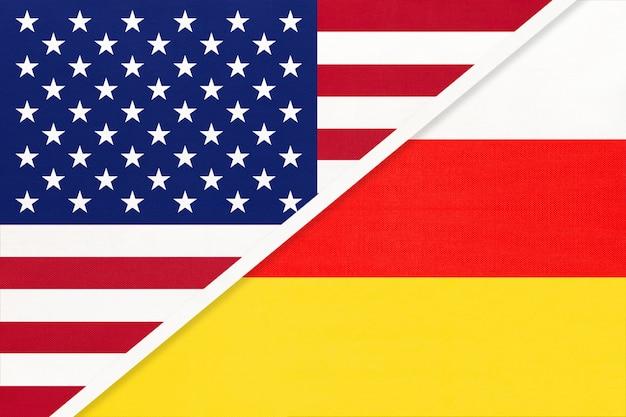 繊維からの米国対北オセチアの国旗。アメリカとアジアの2つの国の関係。