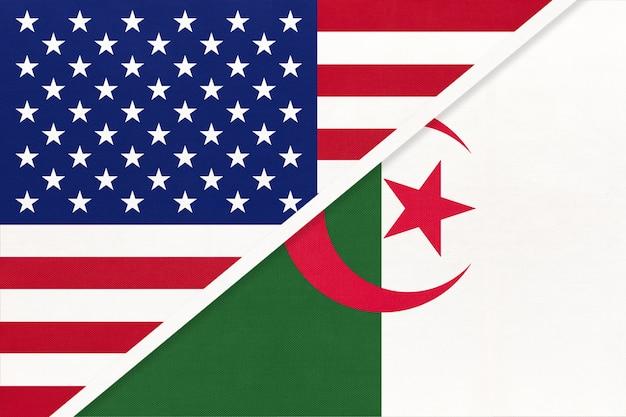 アメリカ対アルジェリア共和国の国旗のテキスタイル。