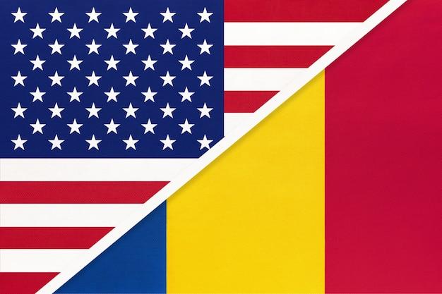 Usa vs romania national flag
