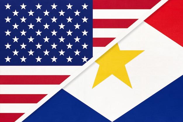 繊維から米国対サバ島の国旗。アメリカとカリブ海の2つの国の関係。
