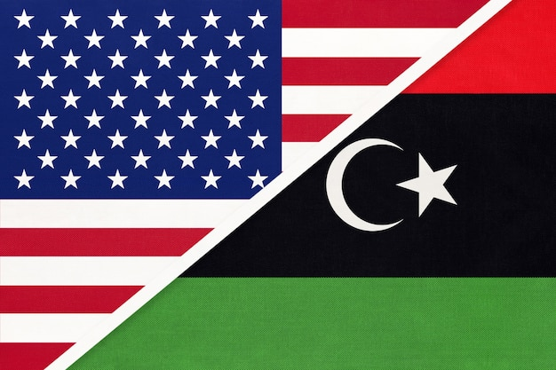 Usa vs state of libya national flag from textile.