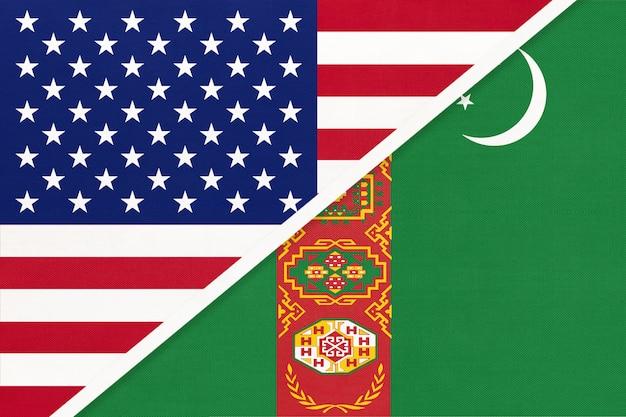 繊維からの米国対トルクメニスタンの国旗。アメリカとアジアの2つの国の関係。