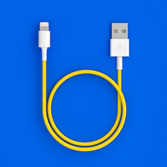 Usb cable on blue background