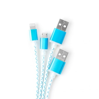 Usb charging cables for smartphone and tablet on white