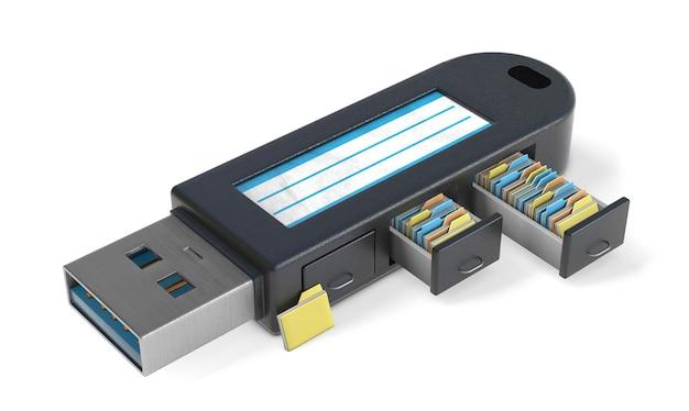 Флешка. архив с файлами и папками в электронном архиве. изолированные на белом фоне. 3d визуализация.