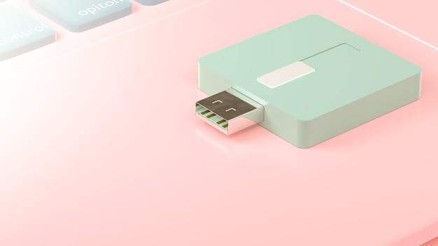 Usb flash drive on laptop, 3d render.
