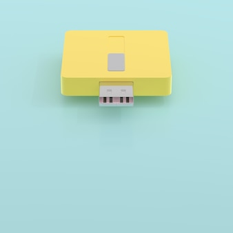 Usb flash drive yellow and blue pastel color and copy space for your text, 3d render.