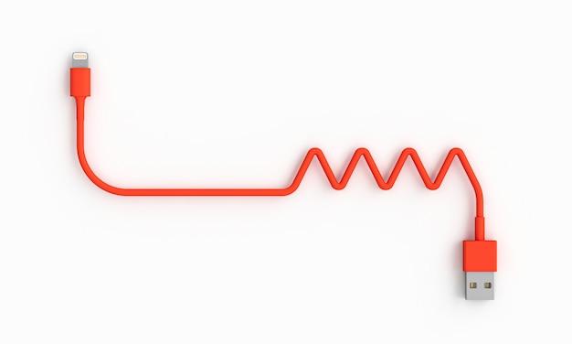 Коралловый usb-кабель на белом