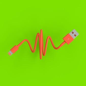 緑色のサンゴ色のusb接続ケーブル